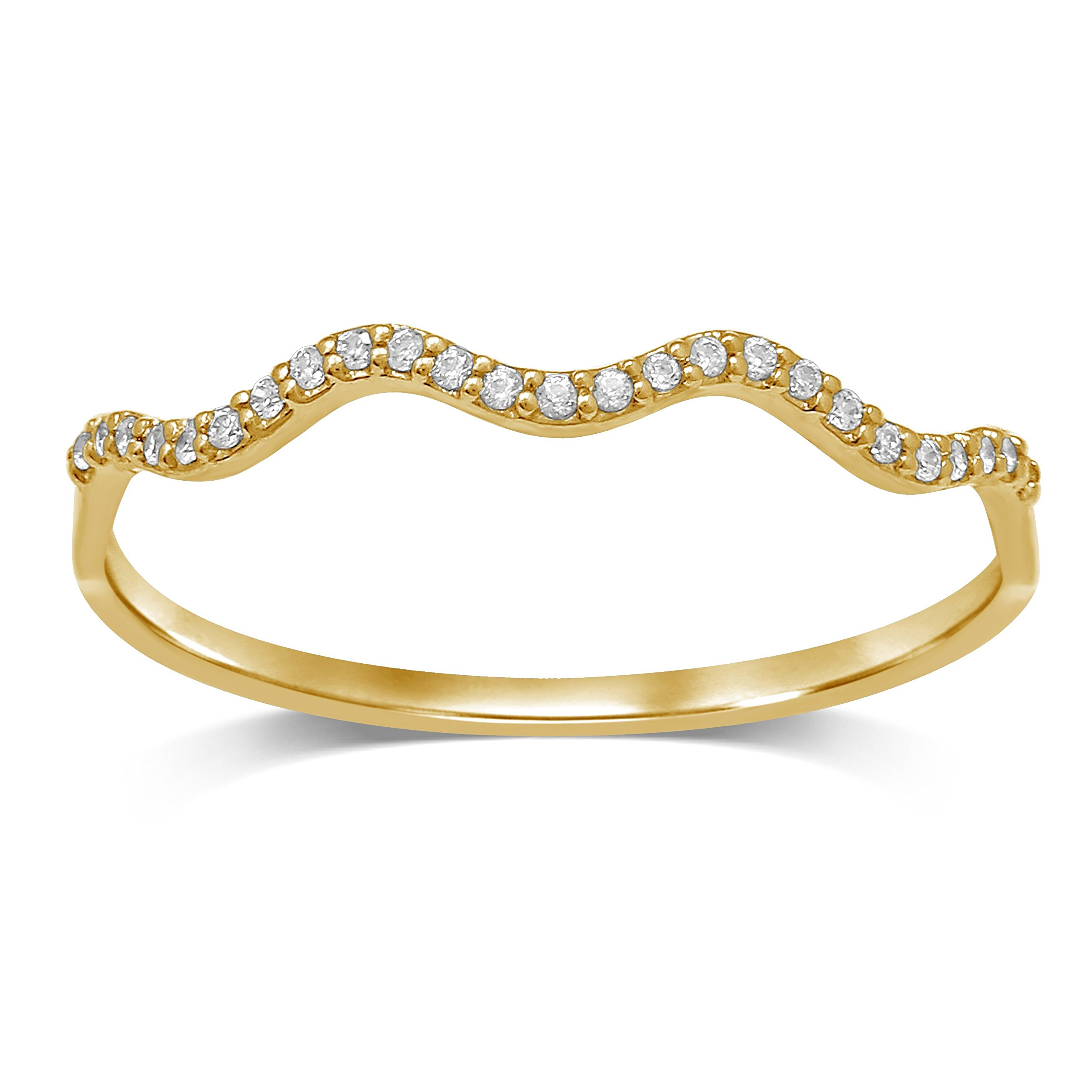 Diamond Jewel 10K Yellow Gold 1/15 cttw Diamond Stackable Band