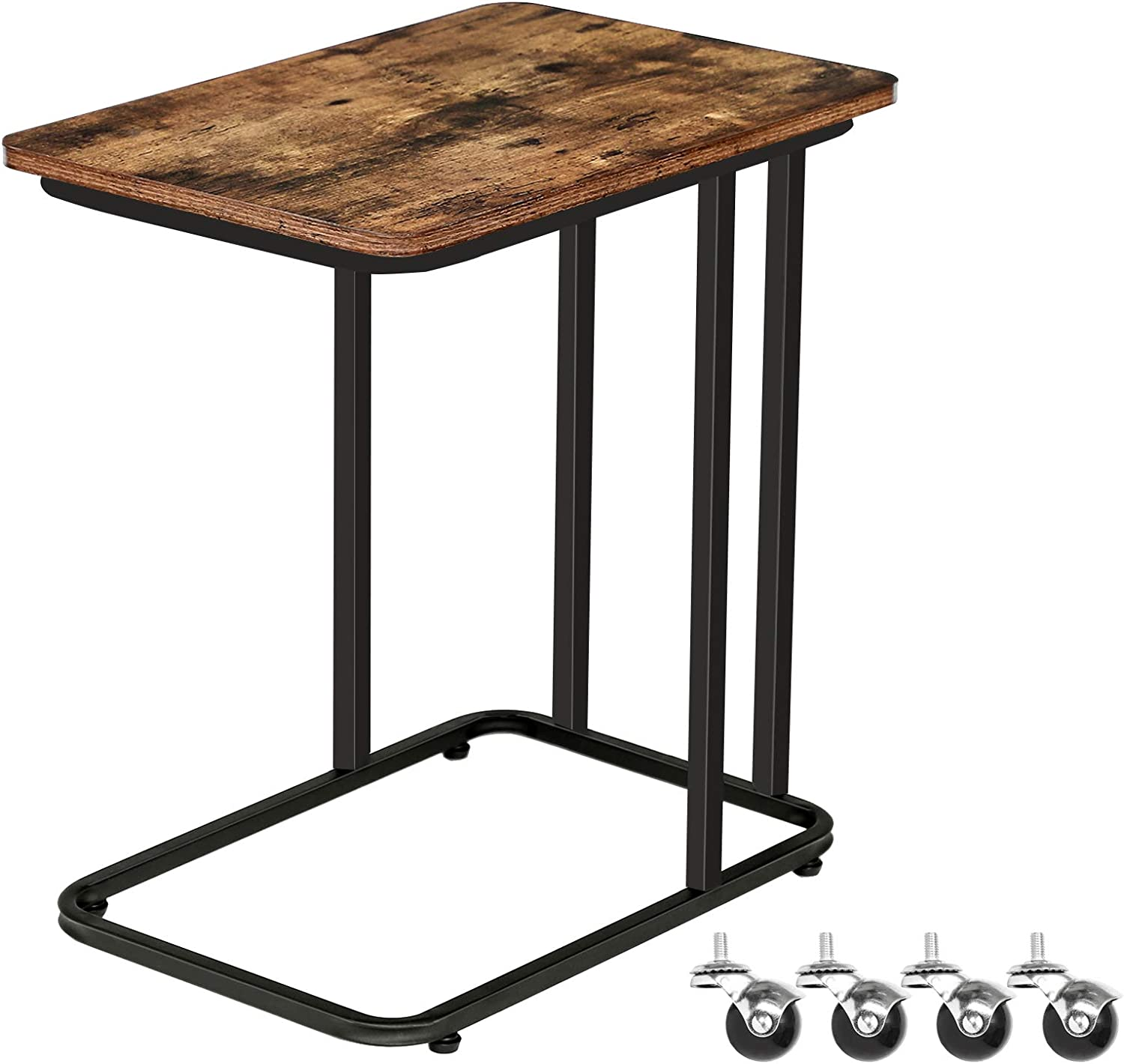 HOOBRO Side Table, Mobile Snack Table, Slides Next to Sofa Couch, Industrial Laptop Table for Small Space, Living Room, Bedroom, Easy Assembly, Industrial Wood Look Accent Table, Rustic Brown BF01SF01