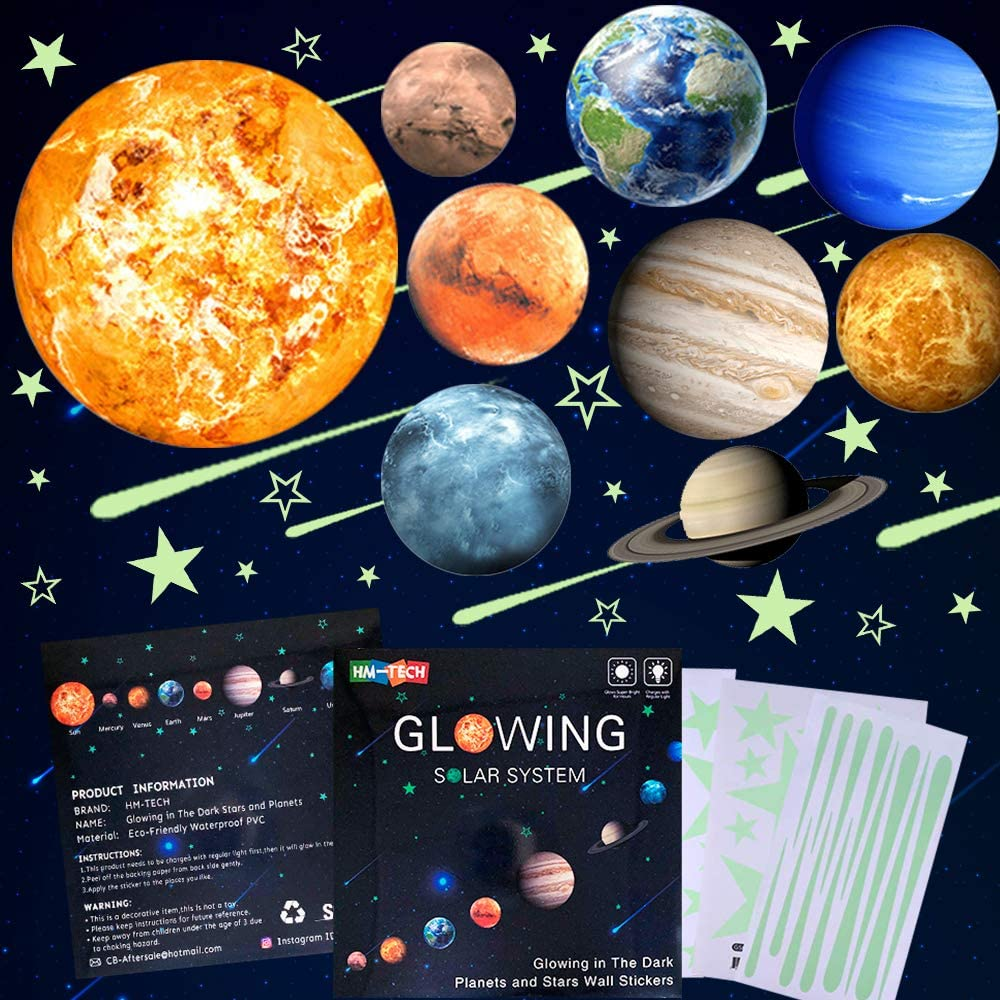 Amazon Com Glow In The Dark Stars And Planets Bright Solar System Wall Stickers Sun Earth Mars Stars Shooting Stars And So On 9 Glowing Ceiling Decals For Bedroom Living Room Shining Space Decoration For Kids Home