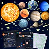 48pcs Glow in The Dark Stars and Planets Wall Stickers 9pcs with 28pcs stars and 10pcs shooting stars ,Bright Solar…