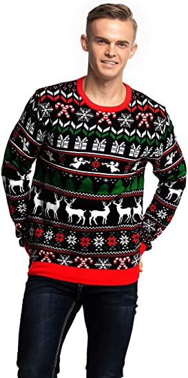 Novelty Funny Xmas Jumper with Santa Reindeer Snowflake,Chunky Unisex Festive Knitted Pullover Long Sleeve Sweater for Christmas Jumper Party Mens Christmas Ugly Sweater
