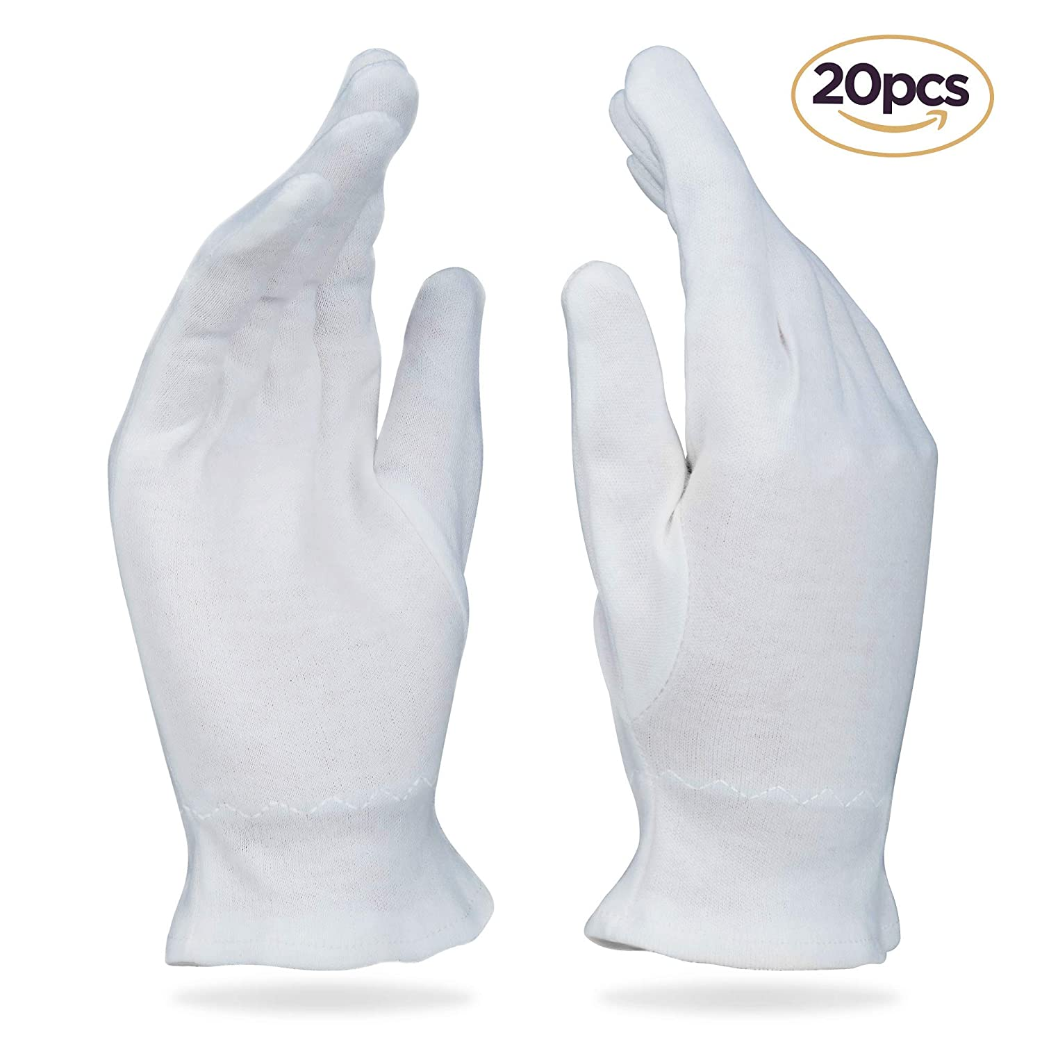 20 Large White Cotton Gloves For Dry & Sensitive Skin or Eczema - Thick Reusable Hand Protection With Wrist Band Seals In Moisturizer Care Wear Inc