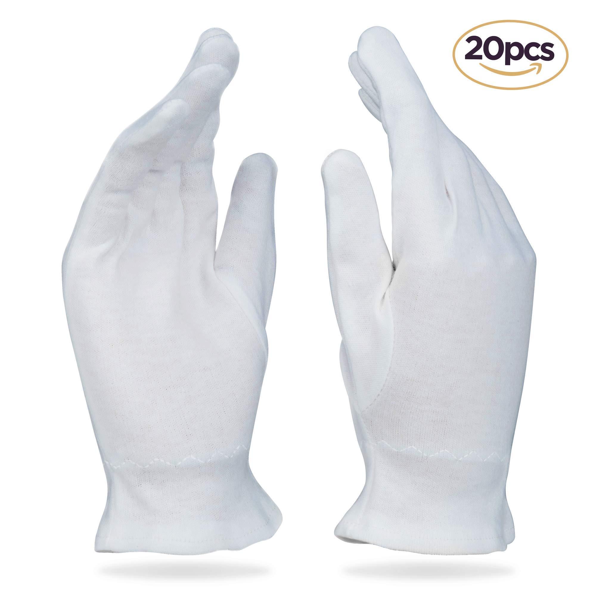 Beauty Care Wear Medium White Cotton Gloves for Eczema, Dry Skin, Moisturizing - 20 Gloves