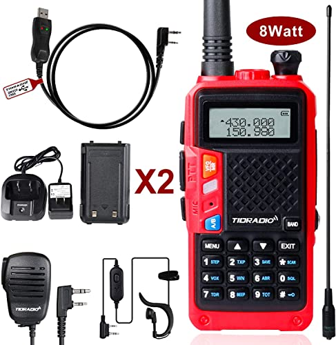 TIDRADIO TD-F6 8Watt Ham Radio Handheld Upgraded UV-5R UHF VHF Dual Band Two Way Radio with 2 Rechargeable 1800mAh Battery Walkie Talkies with Driver Free USB Programming Cable