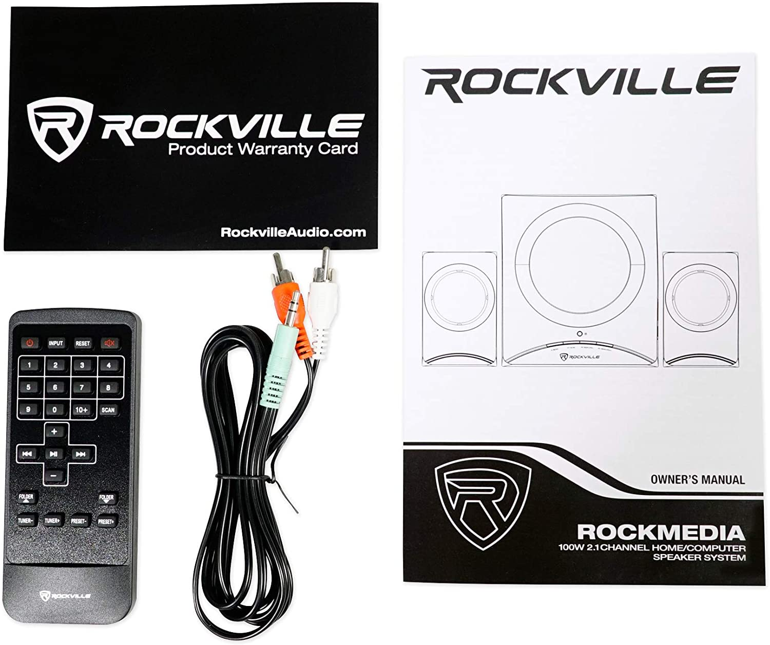 Rockville Rock Media Bluetooth Speakers+Subwoofer for MacBook//PC//Dell//Lenovo//Hp