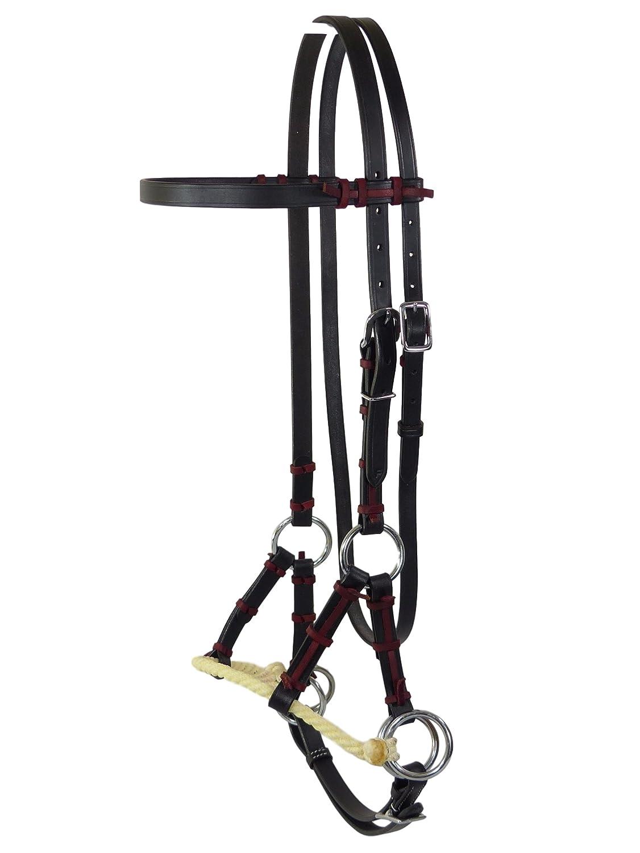 Thor Equine Side Pull con singolo Rope naso cinghia Nero