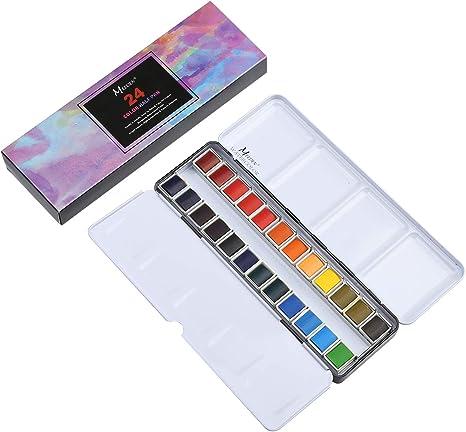 Watercolor Tins Palette Paint Case with 24 Pcs Half Pans For Color Travel Artist