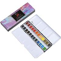 MEEDEN Art Watercolour Tin Palette Paint Case with 24 Colours Half Pan Paints Portable Watercolour Paint Set Navy Blue…