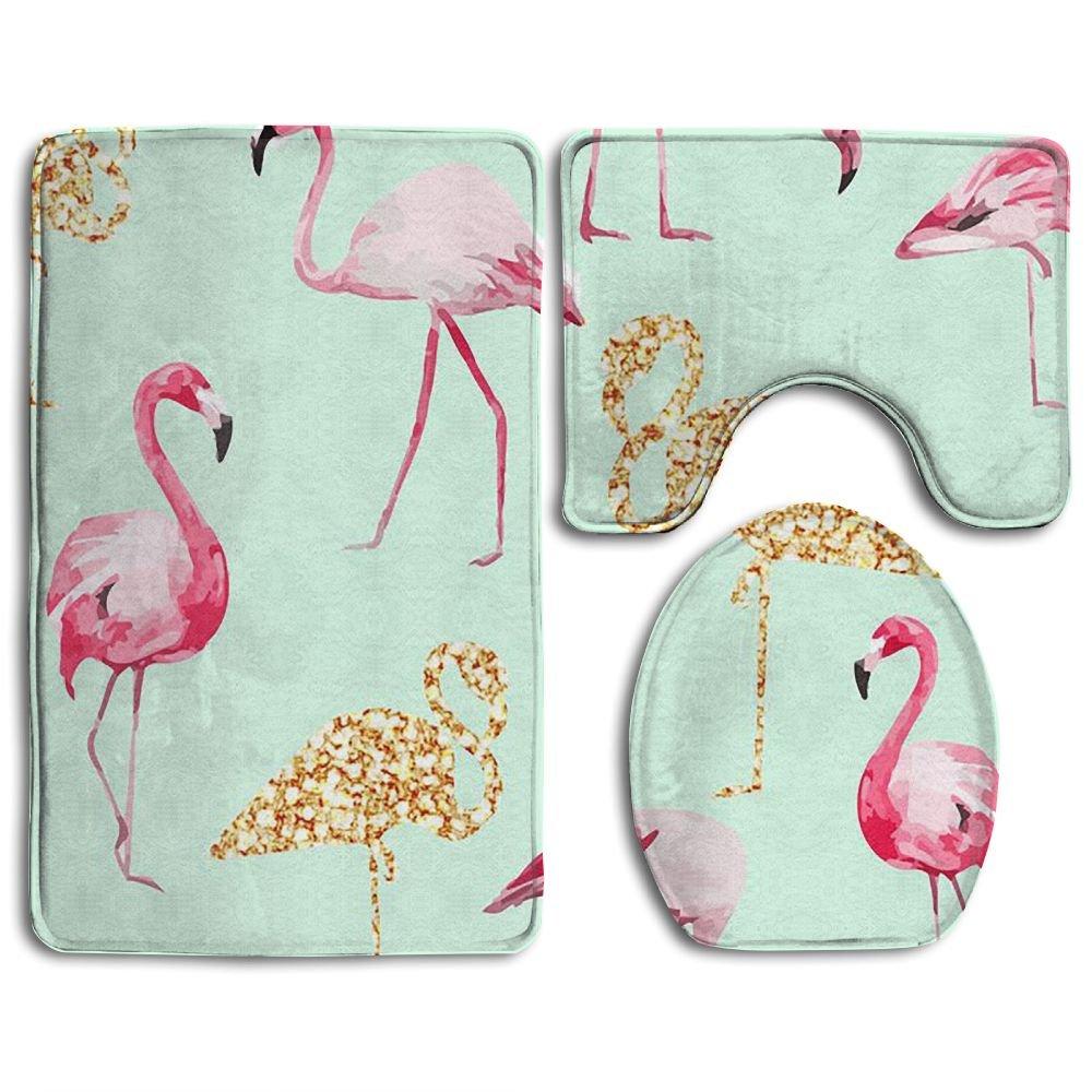 Huayaa Bathroom Non-Skid Carpet Bath Rugs 3 Pieces Set Water-Absorbing Flamingo Life Wallpaper Flannel Toilet Floor Bath Mats Contour Rug Lid Cover
