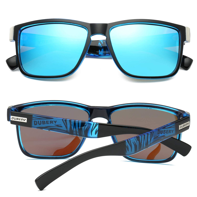 dc2a640e88f2e DUBERY Polarized Sunglasses Classic 100% UV Protection Reflective Color  Mirror Large Square for MenWomen Blue(sky blue)