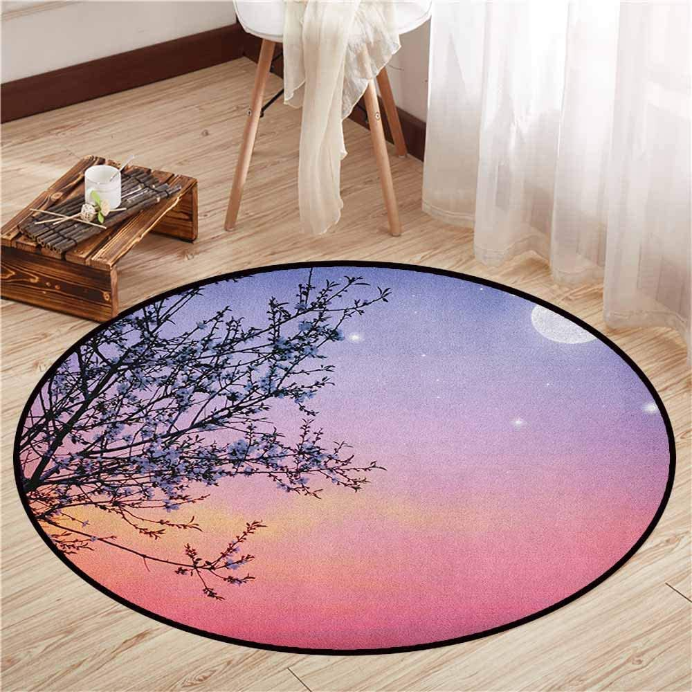 "Indoor/Outdoor Round Rugs,Night,Dreamlike Ethereal Sky with Moon Stars and Blooming Spring Tree Branches,Rustic Home Decor,4'7"" Blue Pale Pink Black"