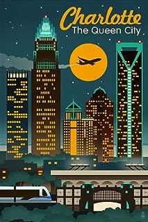 product image for Charlotte, North Carolina, Retro Skyline 47643 (16x24 SIGNED Print Master Art Print, Wall Decor Poster)