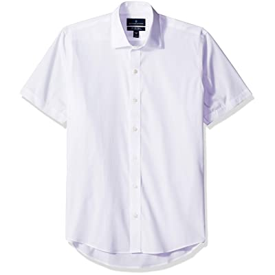Brand - BUTTONED DOWN Men's Slim Fit Spread-Collar Short-Sleeve Stretch Shirt, Supima Cotton Non-Iron: Clothing