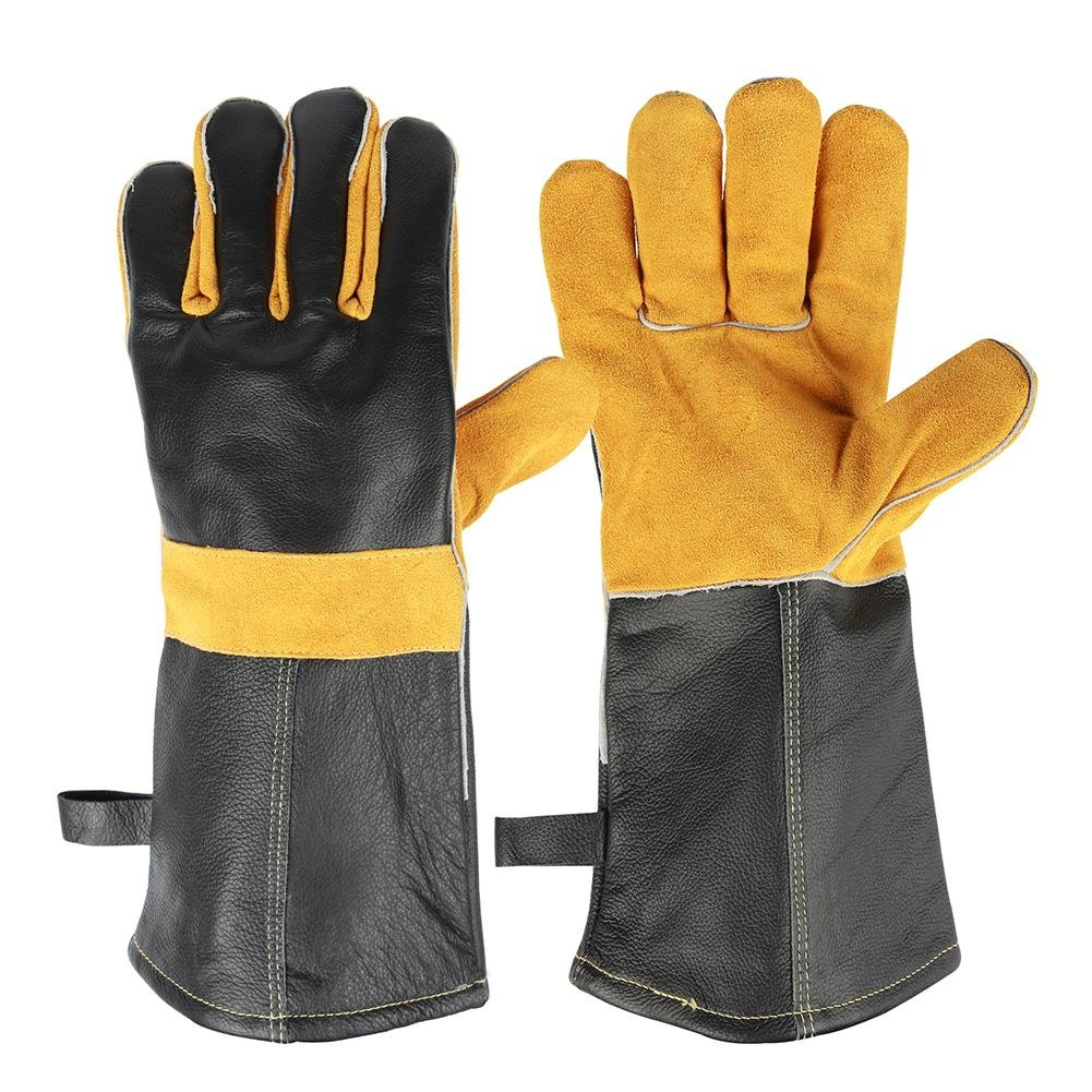 JZDCSCDNS High Temperature Gloves Five Fingers Heat Proof Tear-resistant Anti-puncture Wear-resistant Microwave Oven Outdoor Barbecue Gardening Lengthen Cowhide Fire Line Orange + Black