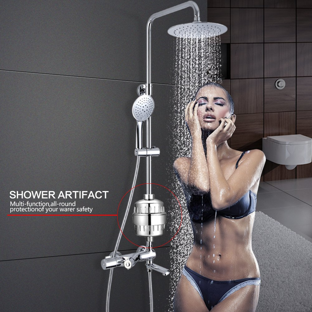 Budalga Universal Shower Water Filter With 2PCS Replaceable Multi-Stage Filter Cartridge Chrome Work With Any Shower Head by Budalga (Image #6)