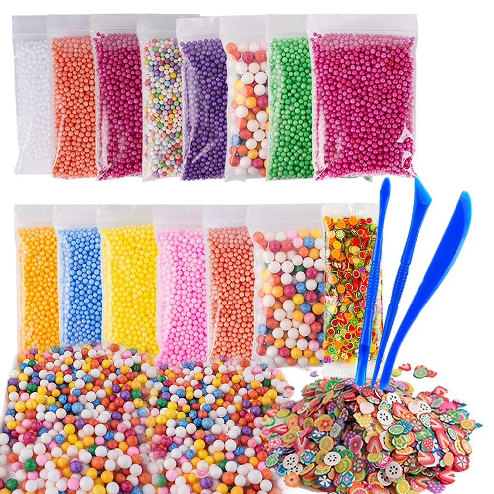 Yixinda 15pack Slime Foam Beads Colorful Micro Polystyrene Styrofoam Balls Fruit Slice with 3 Tools for Slime Making Craft Supplies
