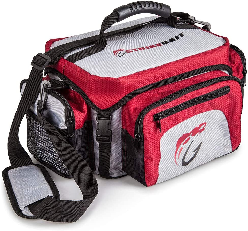 STRIKEBAIT Fishing Tackle Bag – Lightweight and Easier to Carry Than Boxes – Keeps Your Gear Organized, Safe and Dry – Waterproof Bags Incl 4 Tackle Boxes and a Boatload of Pockets and Storage Space