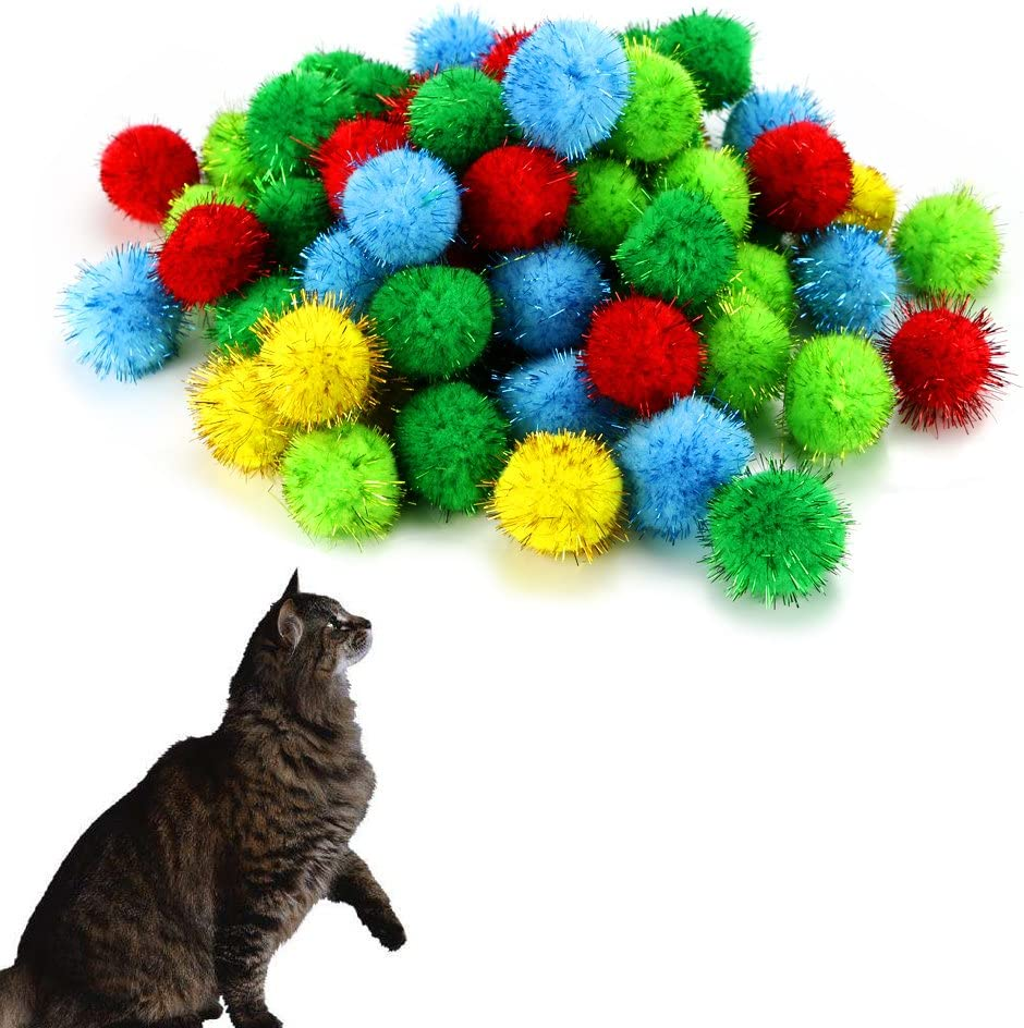 100x Assorted Color Sparkle Balls Cat Toy Balls Tinsel Poms Glitter for Cat