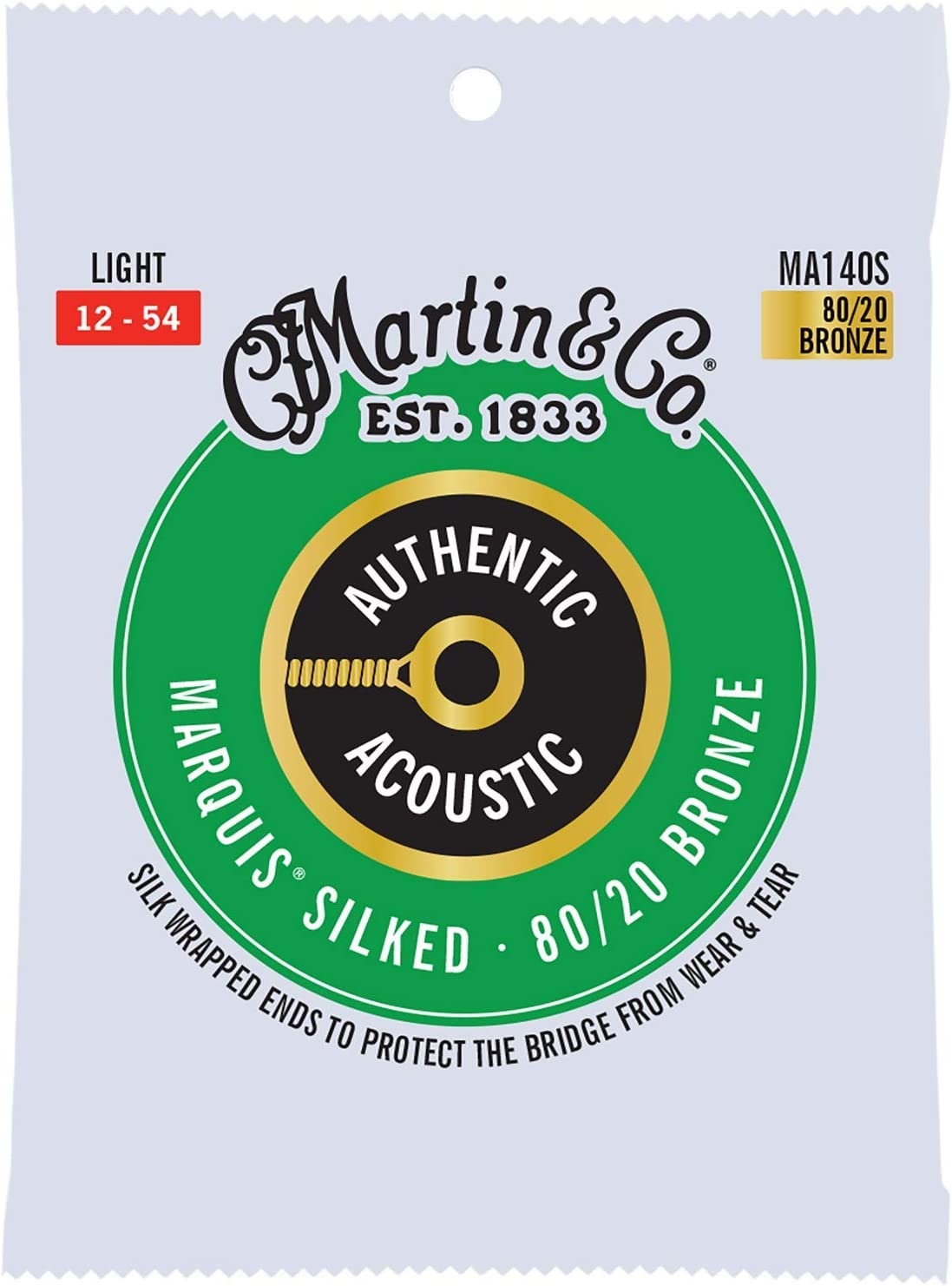 Martin Guitar MA140S Authentic Acoustic Light-Gauge Marquis Silked Strings, 80/20 Bronze Acoustic Guitar Strings