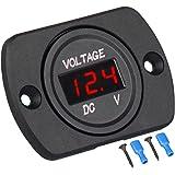 Linkstyle DC 12V 24V Car Voltmeter with LED Digital Display Panel, Waterproof Voltage Gauge Meter with Terminals for Boat Mar