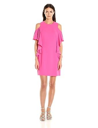 Trina Turk Women's Lambada Carmel Crepe Cold Shoulder Dress, Pink Swizzle, 0