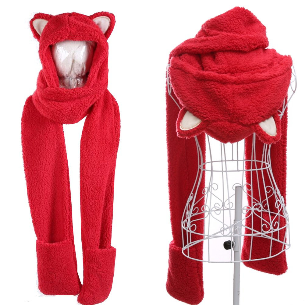 Winter Parent-child Warm Double Thickening Hat Scarf Gloves Three One-piece Cap-Cat ear