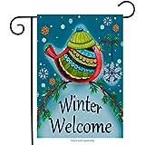 "Winter Welcome Bird Garden Flag Decorative Winter by Briarwood Lane 12"" x 18"""
