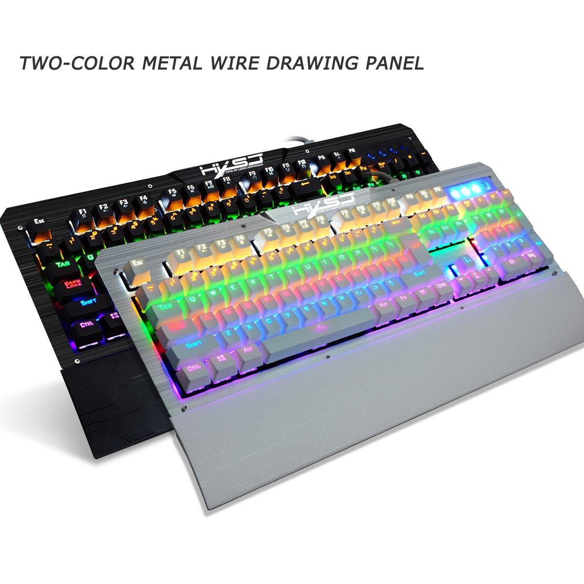 Teclado mecánico 104 teclas de llave completa con cable impermeable Juego periféricos del teclado outemu interruptor azul color de la luz de la respiración ...