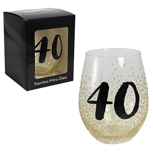 Vaso de vino negro y dorado, en caja de regalo, para 40 ...