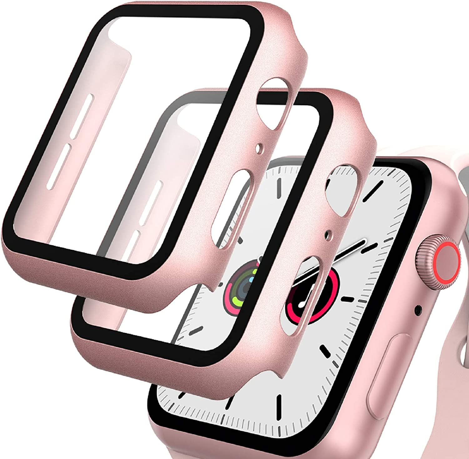 GeeRic Screen Protector Compatible with Apple Watch SE/6/5/4 40mm, 2 Pack Tempered Glass Film with Hard PC Case, Rose Gold