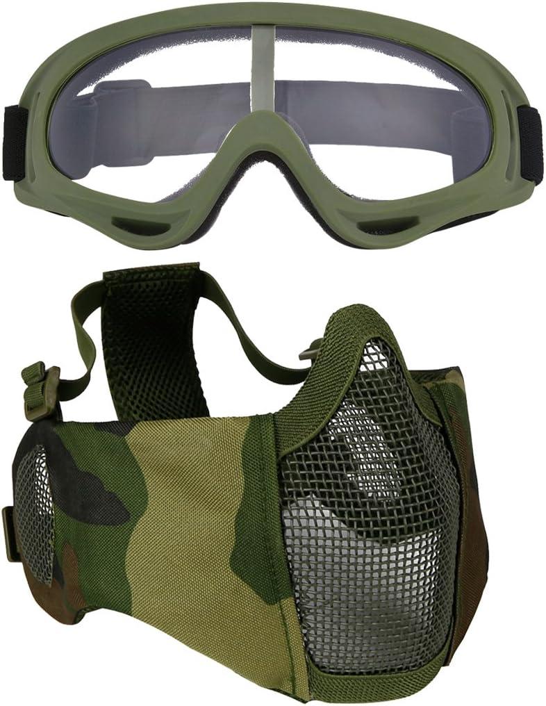 Fansport Masque En Acier à Mailles Masque Demi Visage Protection de L Oreille Du Visage Réglable Masque Airsoft Avec Des Lunettes de Plein Air