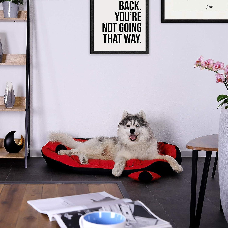 Dibea DB00411 - Cama para Perros (Lavable, con cojín Reversible, 85 x 70 x 20 cm), Color Rojo y Negro