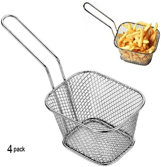 4pcs Mini Chip cestas cocina acero inoxidable freidora de servir ...