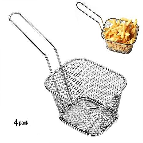 4pcs Mini Chip cestas cocina acero inoxidable freidora de servir de presentación para alimentos