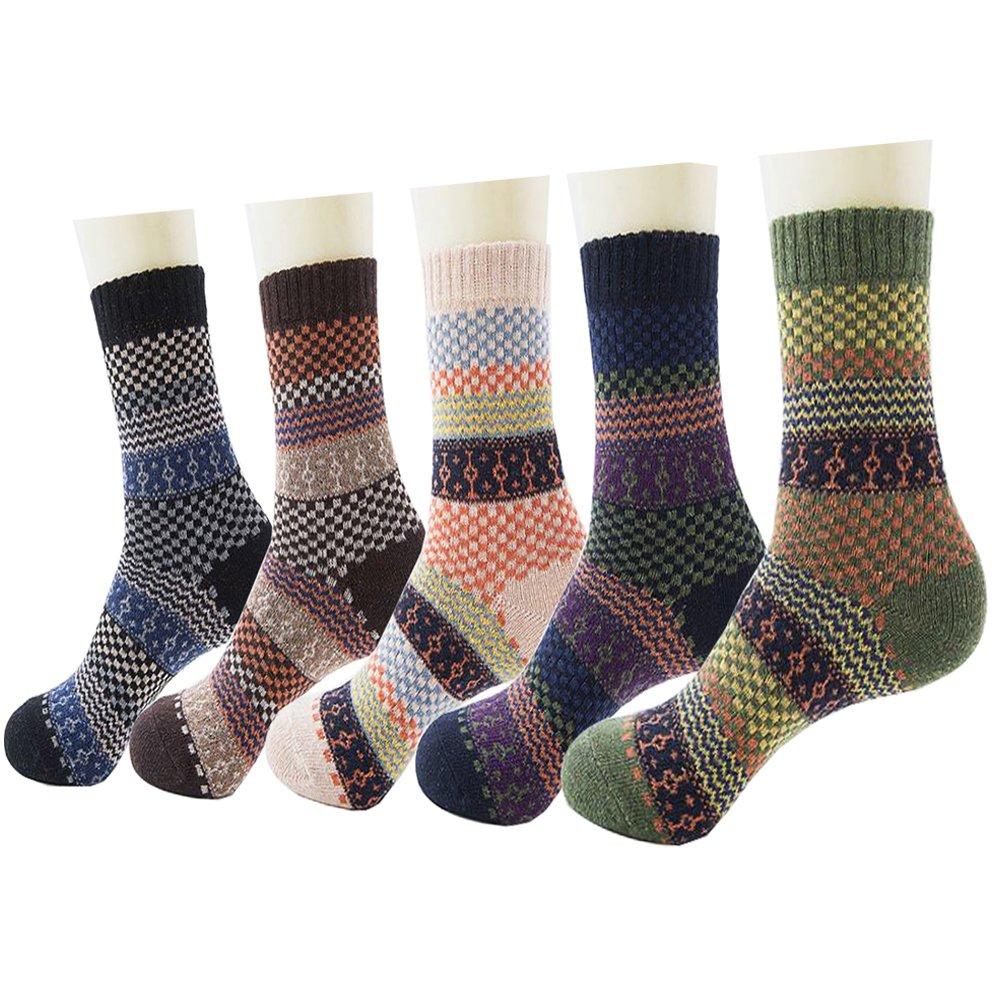 Men's Wool Knitting Socks Winter Warm Cashmere Socks Vintage Style Mixed Color Socks 5 Pairs (Fine Grid)