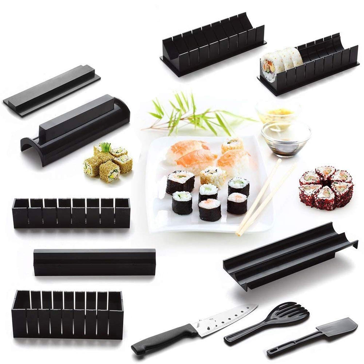 Sushi Making Kit - Original Sushi Maker Deluxe Exclusive Online Video Tutorials Complete with Sushi Knife 11 Piece DIY Sushi Set - Easy and Fun - Sushi Rolls - Maki Rolls by ELEDUCTMON