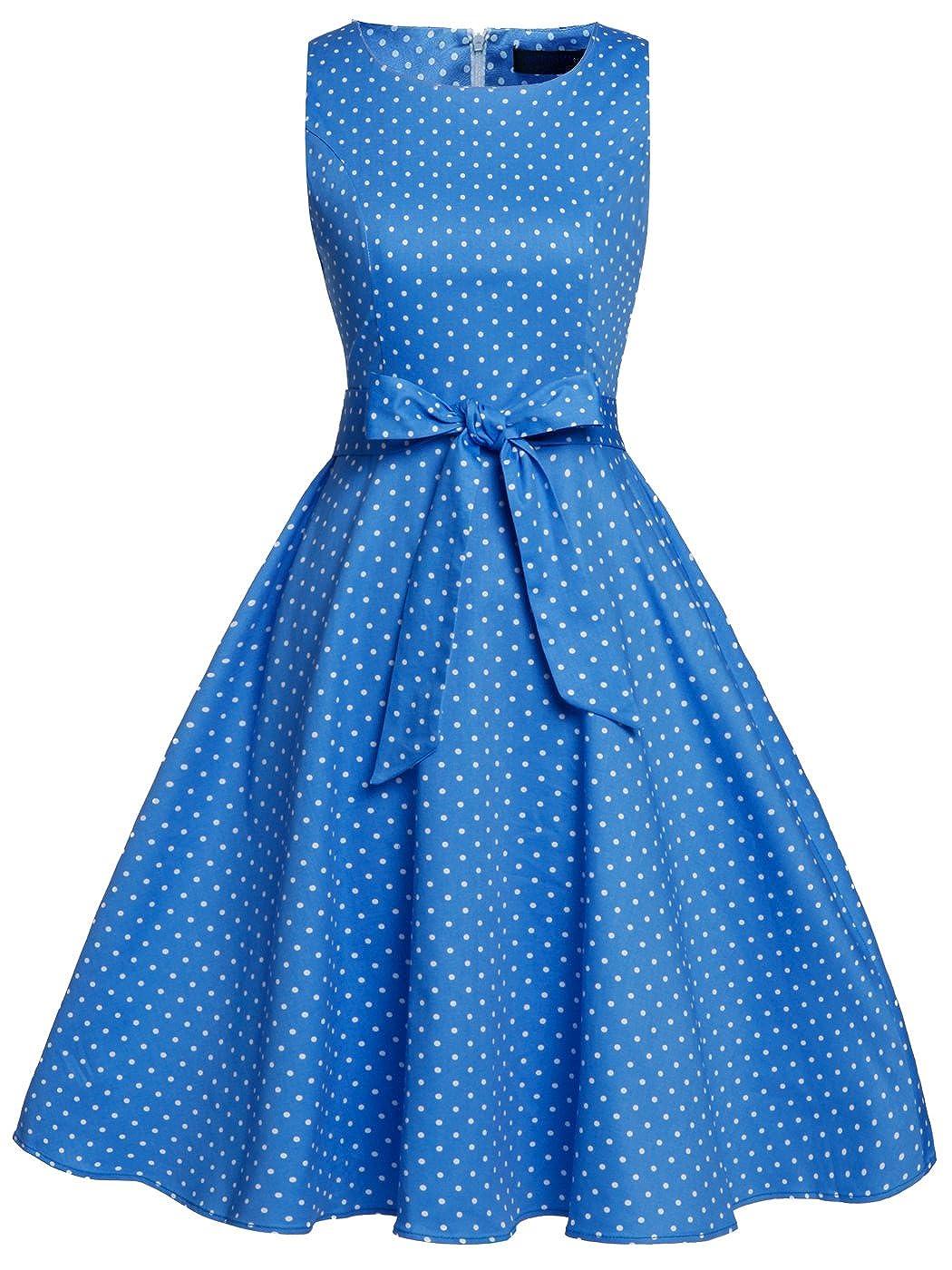 TALLA XXL. FAIRY COUPLE 50s Vestido de Partido Floral Retro del Oscilación del Cóctel del Vintage con el Arco DRT017 Puntos Blancos Azules XXL