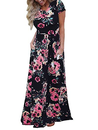 b26edf24c3 LANREMON Women s Floral Print Rose Maxi Retro Bohemian Long Dress Summer  3 4 Sleeve Round