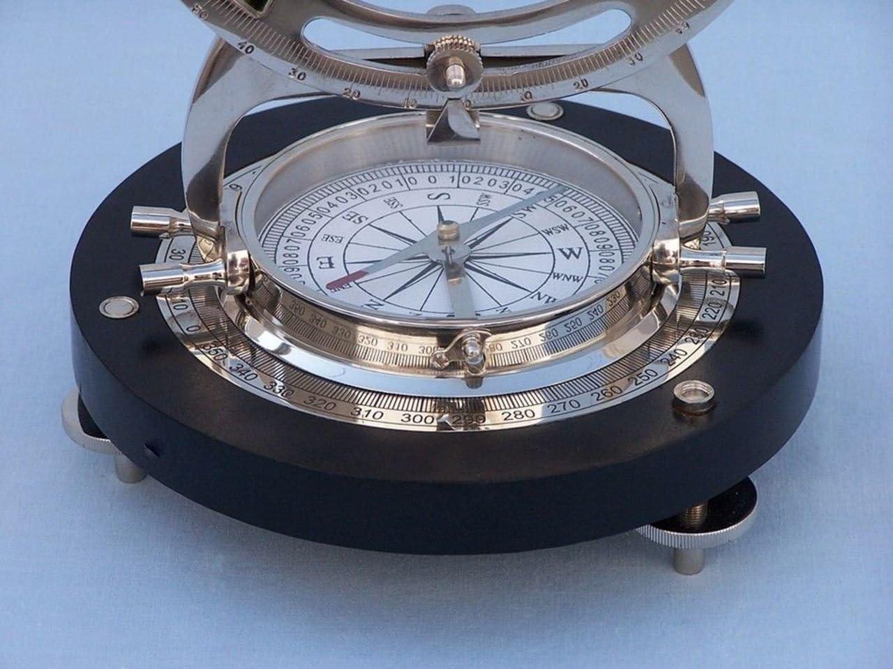 Hampton Nautical LI-1521-CH Chrome Alidade Compass 14 Instrument-Nautical Home Decoration