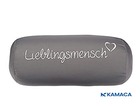 Kamaca Nackenrolle Nackenkissen LIEBLINGSMENSCH mit hautsympathischem Bezug und angenehmer Füllung Reise (Nackenrolle grau)