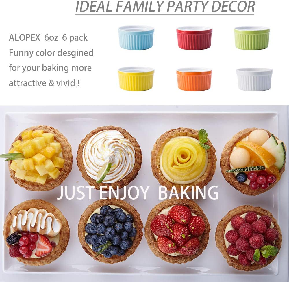 Set of 6 Oven Safe Ramekins for Baking Creme Brulee and Ice Cream Colorful Souffle Dishes Porcelain Baking Dish For Souffl/é Alopex 6 Ounce Porcelain Souffle Cups