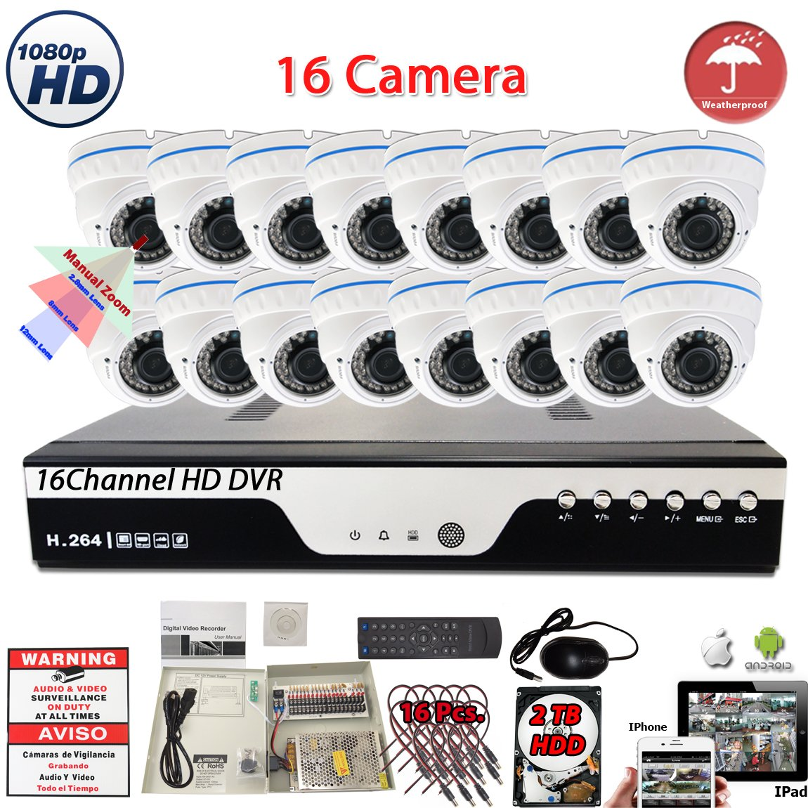 Amazon.com : Evertech 16 Channel HD DVR w/ 16 pcs 4in1 AHD TVI CVI ANALOG 1080P Varifocal Manual Zoom Dome HD CCTV Home Security Camera System Set w/ 2TB ...
