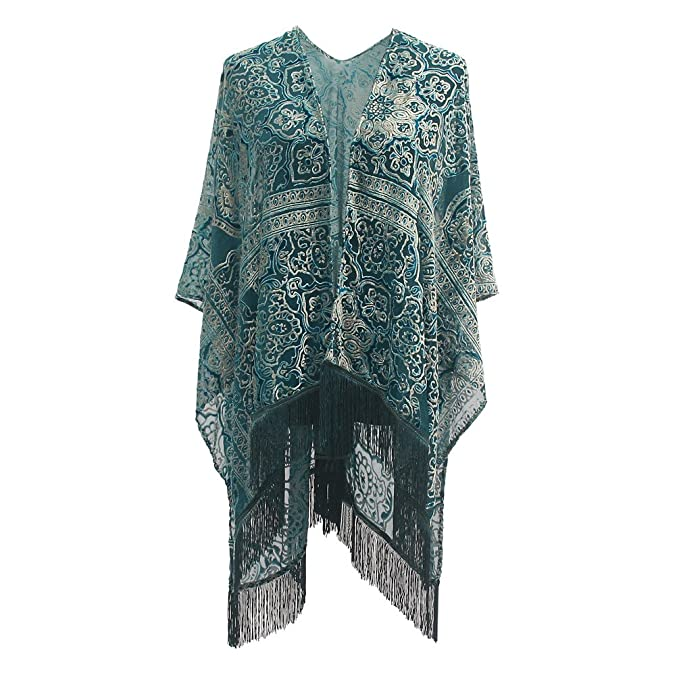 Vintage Coats & Jackets | Retro Coats and Jackets Genovega Burnout Velvet Kimono Cover up - Women Floral Ruana Poncho Cardigan Dress with Fringe  AT vintagedancer.com