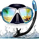 EXP VISION Snorkel Diving Mask Set, Panoramic HD Scuba Swim Mask, Tempered Anti-Fog Lens Glasses Snorkel Goggles, Scuba…