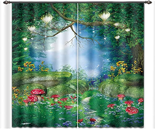 LB Teen Kids Decor Collection,2 Panels Room Darkening Blackout Curtains,Fairy Tale Forest Scenery 3D Window Treatment Curtains Living Room Bedroom Window Drapes,28 by 65 inch Length