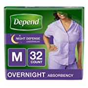 Depend Night Defense Incontinence Overnight Underwear for Women, Medium, 32 Count (Packaging may vary)