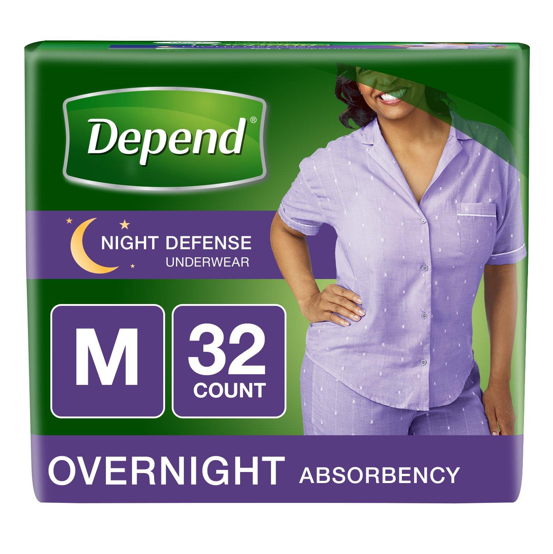 Depend Night Defense Incontinence Overnight Underwear for Women, Medium 32 Count