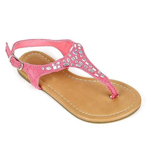 8513210ade Bella Marie Girls Kids T Strap Gladiator Strappy Rhinestone Glitter Flip  Flops Sandals