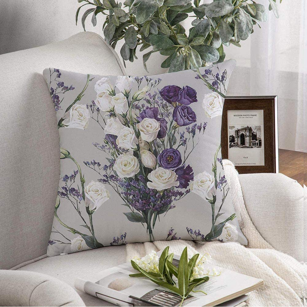 Decorative Throw Pillow Cover Soft Colorful Artistic Floral Pattern Victorian Muted Vintage Purple Blooming Blossom Botanical Bouquet Cushion Cover For Couch Bedroom Car 18x18 Inch Home Kitchen