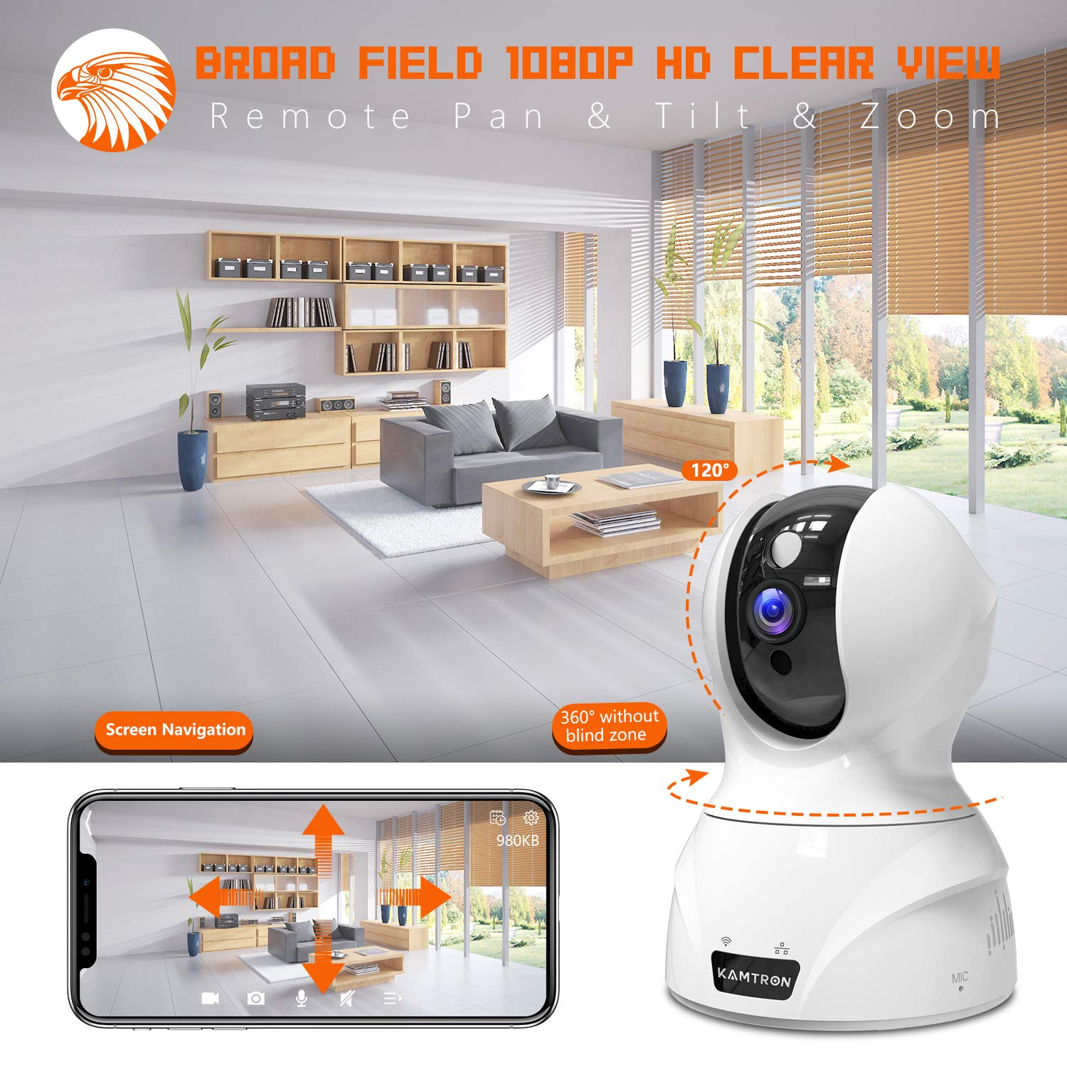 Night Vision Security Camera 1080P WiFi Pet Camera Cloud Storage KAMTRON Wireless Indoor Pan//Tilt//Zoom Home Camera Baby Monitor IP Camera with Motion Detection Two-Way Audio